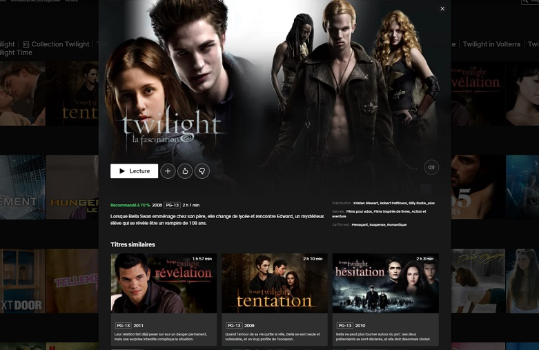 Comment voir les Twilight en streaming VF sur Netflix en France ?